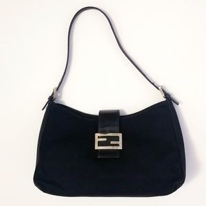 FENDI Black Silver Logo Shoulder Bag Purse